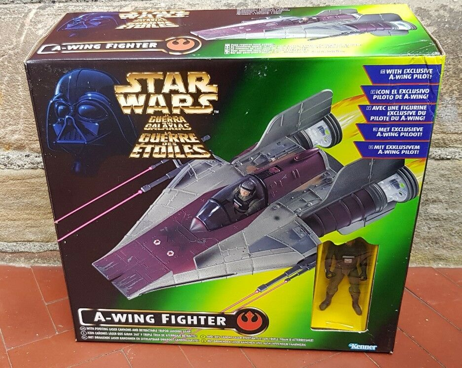STAR WARS THE POWER OF THE FORCE A WING WITH PILOT 1996 KENNER UNUSED CONTENTS