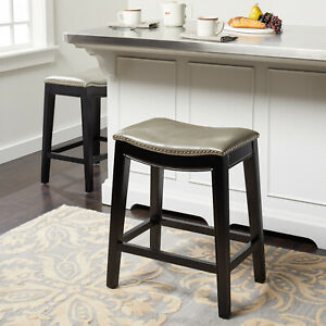 Pleasing Details About Gray Leather Counter Stool Nailhead Trim Cushioned Saddle Seat Sturdy Black Legs Lamtechconsult Wood Chair Design Ideas Lamtechconsultcom