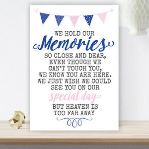 Image Is Loading Pink Amp Blue Bunting Wedding Memorial Table Sign