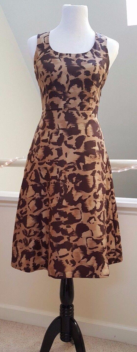 Famous British Designer L.K. Bennett  Parkes  Silk Printed Dress, Beige Brown