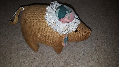 New Primitive Rustic Country RANDY SUNFLOWER SCARECROW BURLAP SACK DOLL Hanging