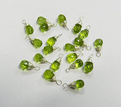 Wire Wrapped Peridot Gemstone 925 Silver Drops Faceted 5x7mm-6x8mm Pendant P839