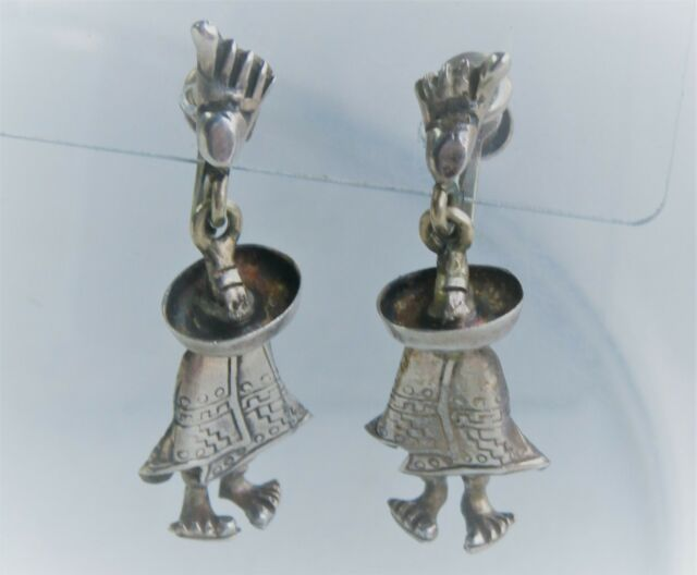 "Mexico DF Artisan 1 1/2"" Sterling Silver Hombre Screwback Earrings"