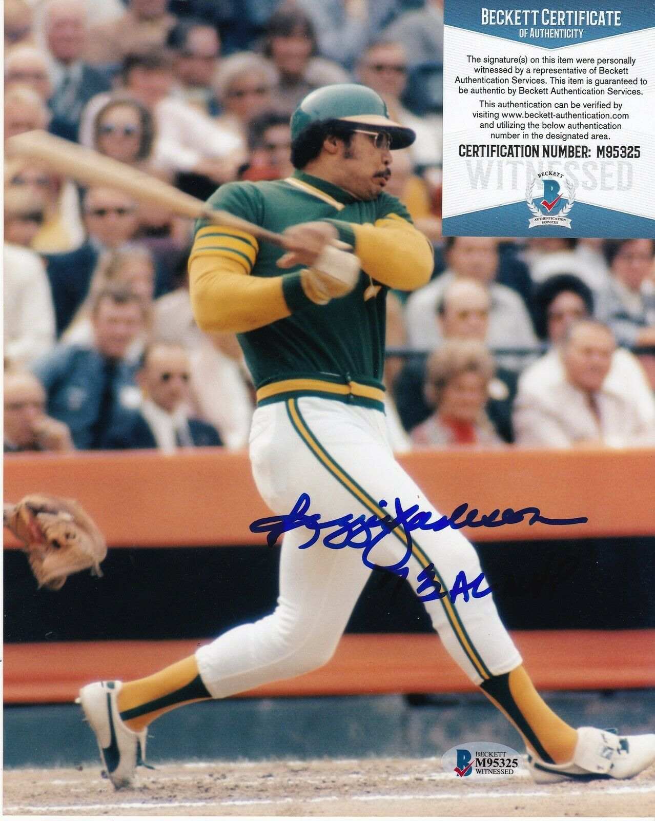 Reggie Jackson Oakland A'S 73 Al MVP Beckett Authenticated Acción Firmado 8x10