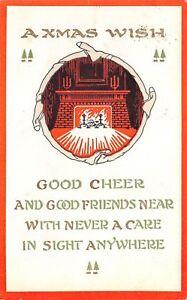 Christmas-Stocking-Portal-to-Red-Black-Fireplace-Good-Cheer-1913-P-of-P-Postcard