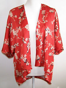 Forever-21-size-S-Open-Front-Kimono-Style-Lined-Top-Orange-Floral