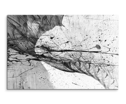 120x80cm Abstrakt/_1431 Schwarz Weiß Risse Painting Malerei Leinwand Sinus Art