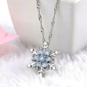 Damen-schmuck-Kristall-Schneeflocke-Anhaenger-Blumen-Silber-Halskette-collier