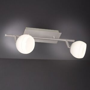 WOFI-lampara-LED-de-techo-Cara-2-Luces-Niquel-regulable-ajustable-cristal-blanco