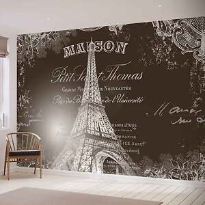 PHOTO WALLPAPER WALL MURAL 2427VE Paris Eiffel Tower Vintage Effect