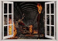 Esqueleto Rider Flame Demonio Pegatina de Pared efecto 3D Ventana Vista Cartel Vinilo 367