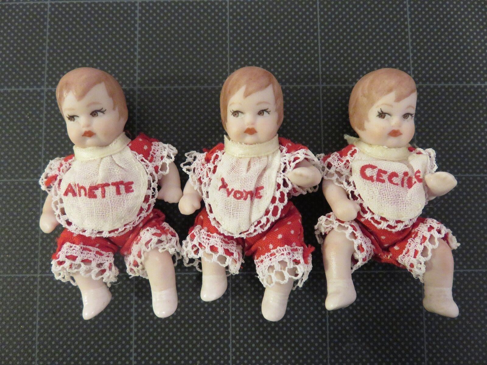 Vintage partial Quintuplets 2-1 4   Yvonne Annette Cecile Bisque Porcelain rouge  articles promotionnels