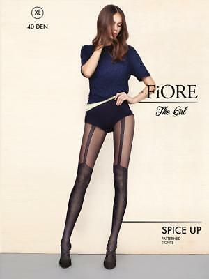 FIORE ETEL FLORAL MOCK HOLD UP TIGHTS PANTYHOSE 40 DENIER BLACK  3 SIZES