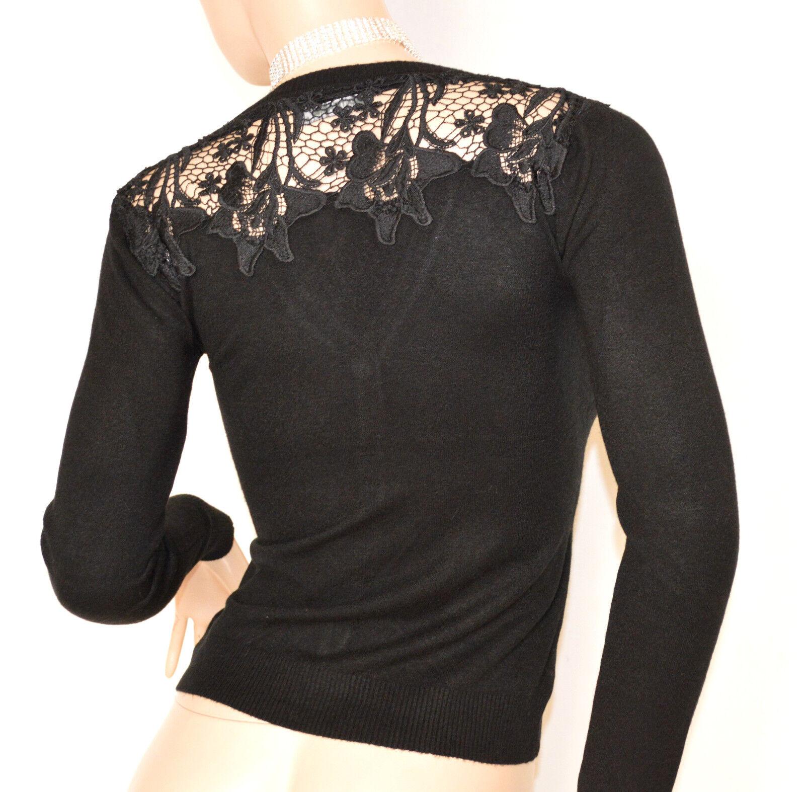 MAGLIETTA NERA cardigan donna ricamata strass strass strass maglia maglione sottogiacca F115 ce4f96