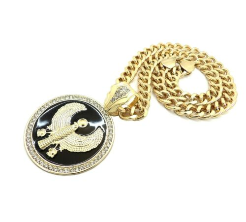 "Details about  /Hip Hop Iced Egyptian Horus Bird Medal Pendant /& 9mm 18/"" Cuban Chain Necklace"