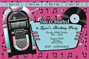 Image Is Loading Personalised Rock N Roll Music Jukebox Birthday Party