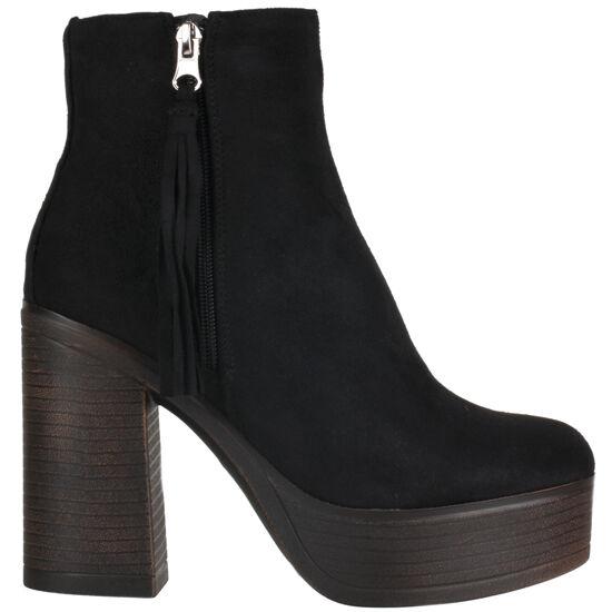 Truffle Trina Black Ankle Boots Microfiber Heels Platform Ladies Vegan
