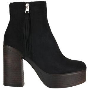 Details about Truffle Trina Black Ankle Boots Microfiber Heels Platform Ladies Vegan