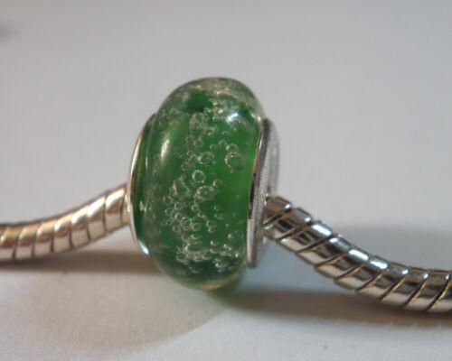Edler Glas Bead Farbe Grün Silber mit Luftblasen 0633