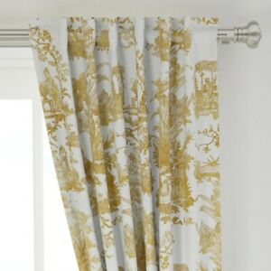 Toile Chinoiserie Asian Gold White Chinese 50 Quot Wide