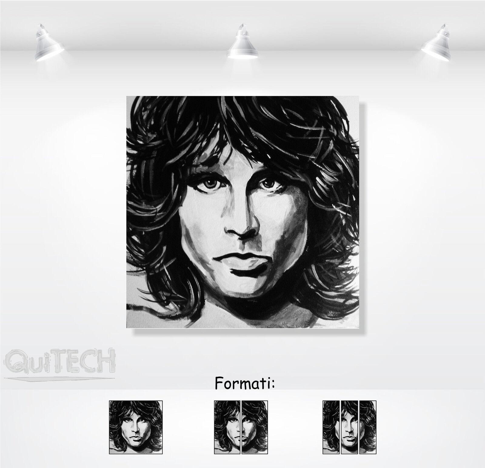 Jim Morrison - 5 - Quadro stampa su Tela Pelle Canvas Dipinto Arte Moderna