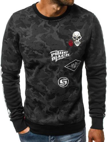 OZONEE JS//DD233 Herren Sweatshirt Pullover Autfdruck Sweatjacke Langarmshirt