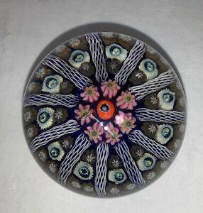 Vintage-Art-Glass-Scottish-STRATHEARN-MILLEFIORI-Cartwheel-Paperweight
