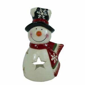 Schneemann mit Stern Keramik Windlicht Teelicht Advent Weihnachten