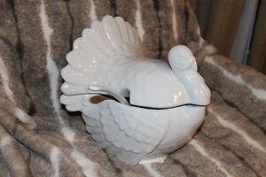 Pottery Barn Turkey Tureen 3pc Ladle Thanksgiving Serving Dish Bowl White New