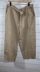 Eileen Fisher Women's Cropped Lantern Pants Linen Blend Beige