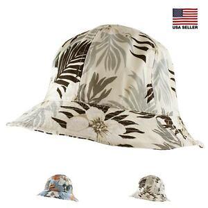 Tropical Hawaii Cotton Hiking Fishing Beach Sun Bucket Hat Women Men ... 1a077db35f3