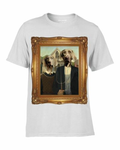 WEIMARANA GOTHIC DYE SUBLIMATION PRINTED WHITE T-SHIRT DOGS QUIRKY PAINTING