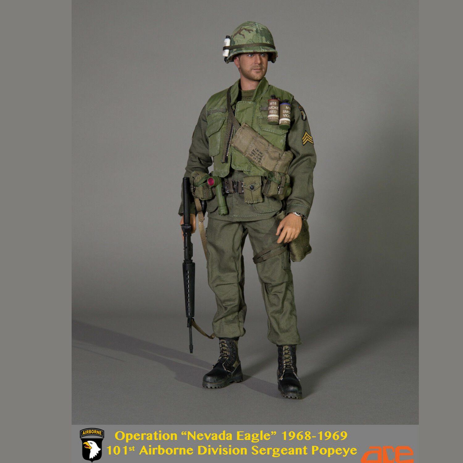 """ACE 1/6th 13035 101st Airborne Division Sergeant Popeye """"Nevada Eagle"""" 1968-1969"""