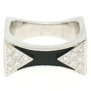 14K-or-Blanc-0-30ctw-Diamant-amp-Email-Noir-Pierre-Fini-Carre-Anneau-Bague