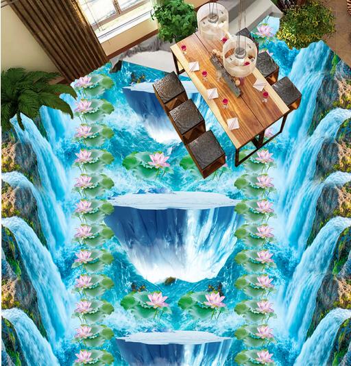 3D Lotus Bridge Waterfall 4 Floor WallPaper Murals Wall Print Decal AJ WALLPAPER