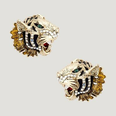 Gold Plated Stud Back Fashion Jewellery Tiger Brooch or Pin