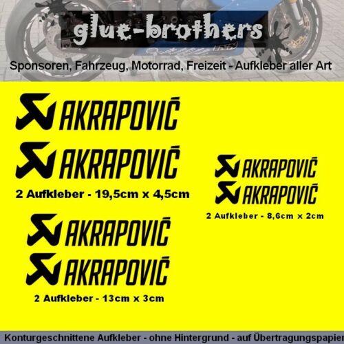 Autocollant Set Akrapovic 6 pièces Noir Motorsport Décalque Sticker sélecteur de couleurs