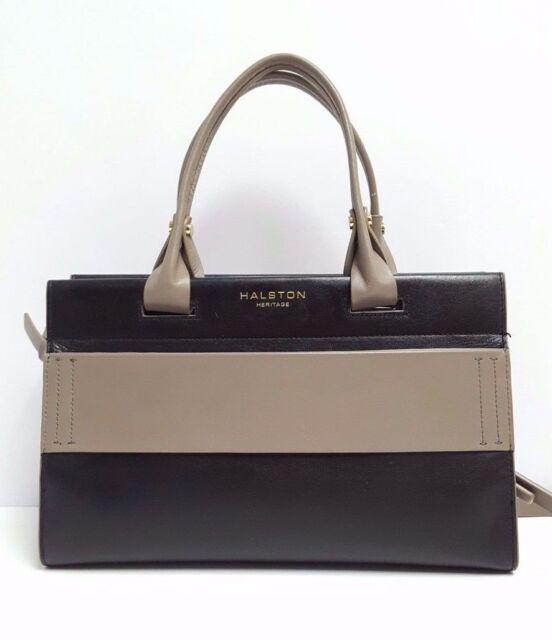 1e4b508b2d5 Halston Heritage Satchel Large Brooke Smooth Leather Handbag (Black Grey)