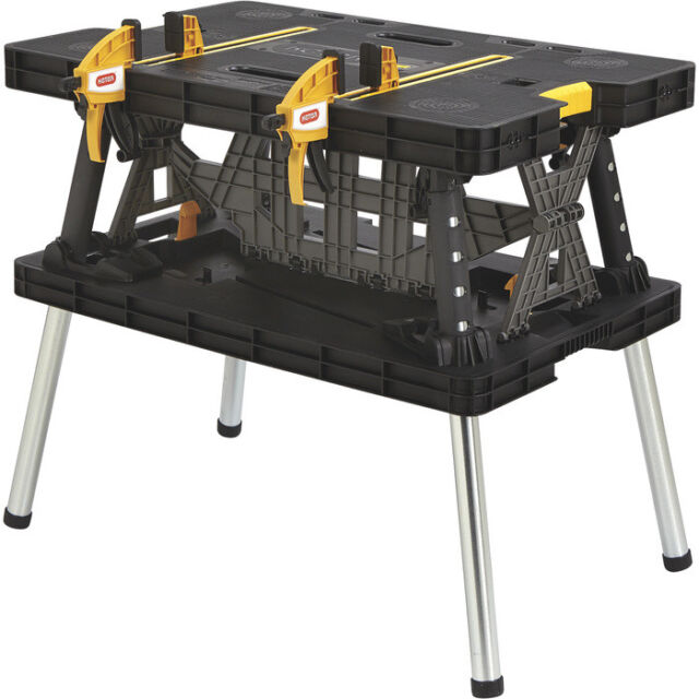 Keter Folding Compact Work bench Table Space Sawhorse  Clamps 1000 lb Capacity