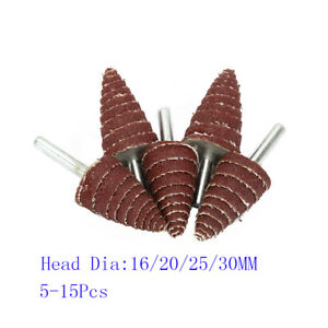 "Cone Abrasive Sandpaper Flap Sanding Grinding Head Deburr Rotary Tool 1//4/"" Shank"
