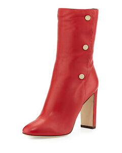 a355e30addb9 JIMMY CHOO DAYNO RED SOFT LEATHER GOLD LOGO BUTTONS MID BOOTS 36.5 I ...