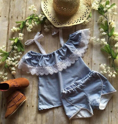 Denim Shorts Outfits Clothes US Toddler Kids Baby Girls Off Shoulder Lace Tops