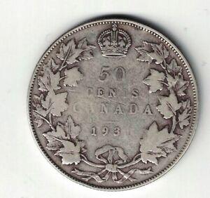 CANADA-1931-50-CENTS-HALF-DOLLAR-KING-GEORGE-V-800-SILVER-COIN