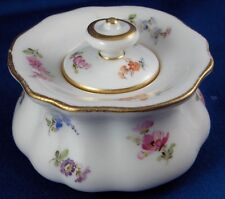 Antique 19thC Meissen Porcelain Floral Inkwell & Lid Set Porzellan Tintenfass