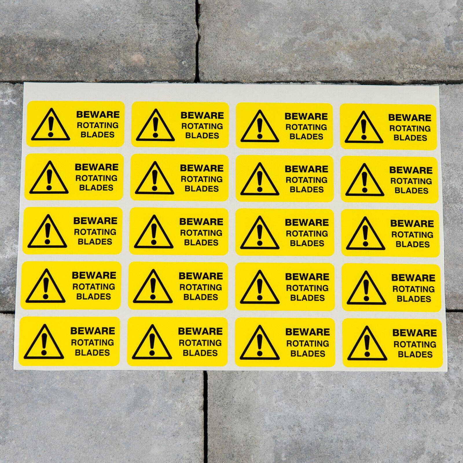20 x Beware Rotating Blade Industrial Safety Warning Decal Sticker - SKU5919
