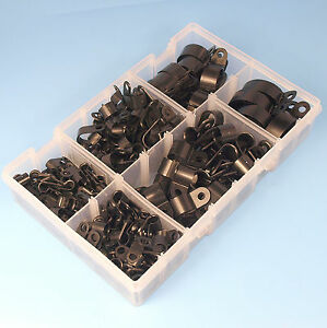 High-Quality-Assorted-Box-of-Black-Nylon-Plastic-P-Clips-200-Pieces