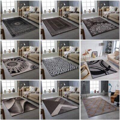 Grey Silver Modern Design Rug Soft Large Living Room Floor Bedroom Carpet Rugs Ebay