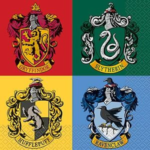 harry potter hogwarts houses lunch napkins 16 birthday party supplies dinner ebay. Black Bedroom Furniture Sets. Home Design Ideas