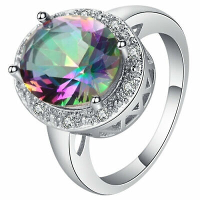 925 Sterling Silver Rainbow Mystical Fire Topaz Fashion Jewelry Ring Size 8