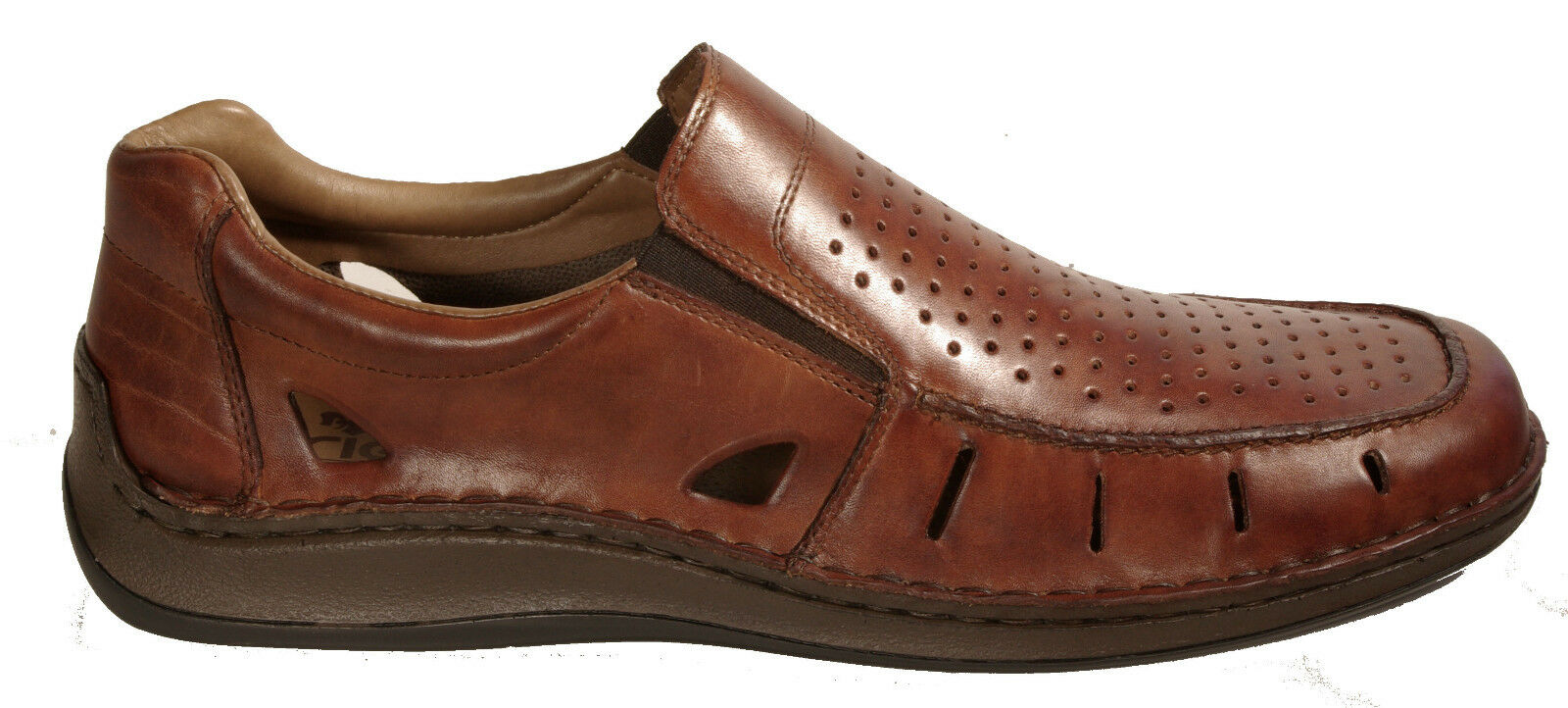 Rieker Chaussures basses été slipper marron en cuir véritable extra grand NEUF